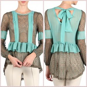 *FIRM* RYU: Whimsical Lace Ribbon Sheer Blouse